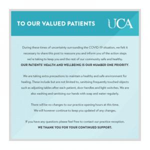 UCA Covid advisory